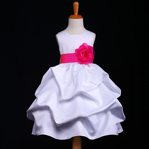 f3ff4369a01 Gorgeous Satin WHITE with your choice of belt   Flower Colour Bridesmaid