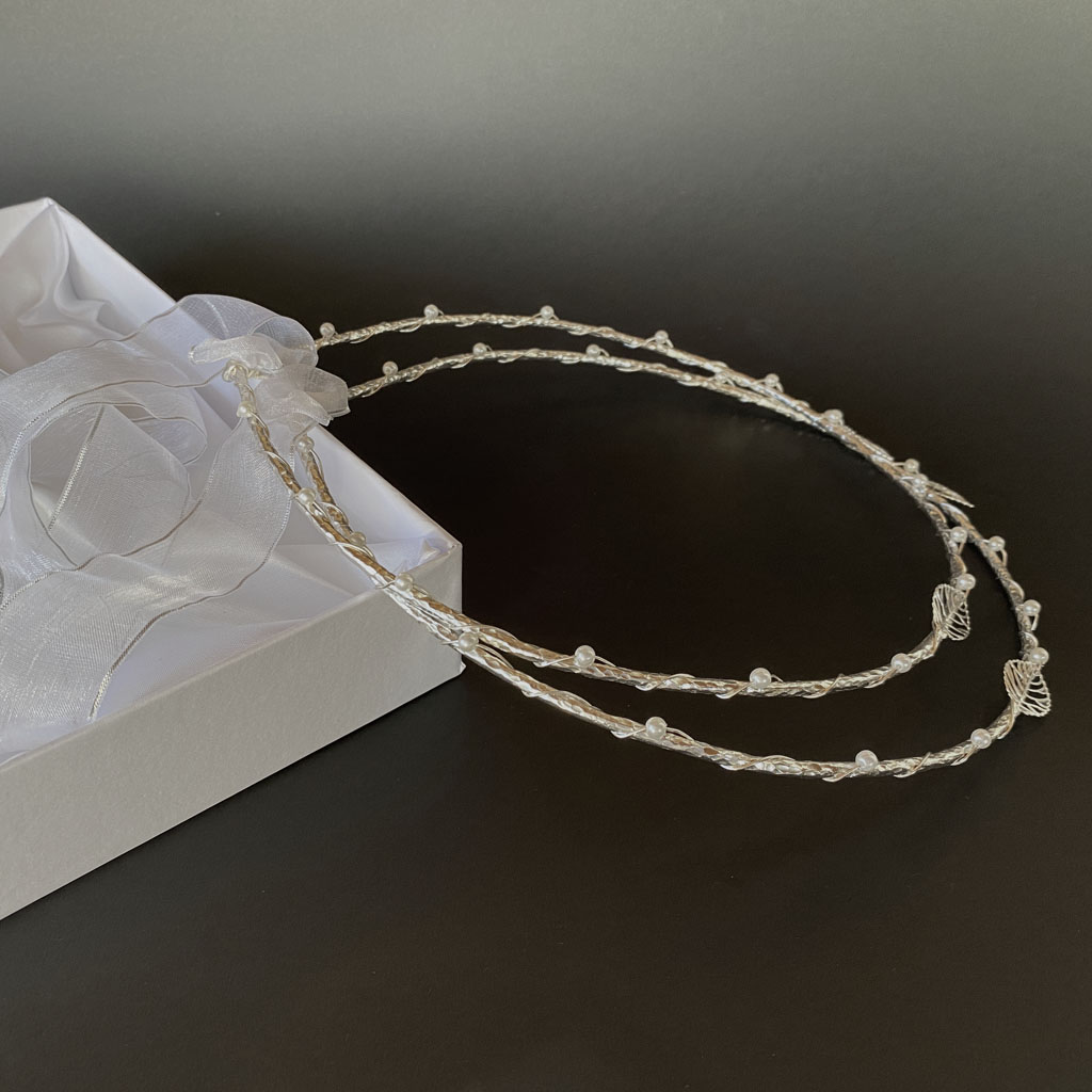 Stefana Set Of Greek Orthodox Wedding Crowns Platinum Plated Silver Colour Zoe
