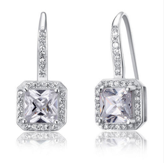 Man Made Synthetic Diamond Earrings For Bridal Wedding Bridesmaid