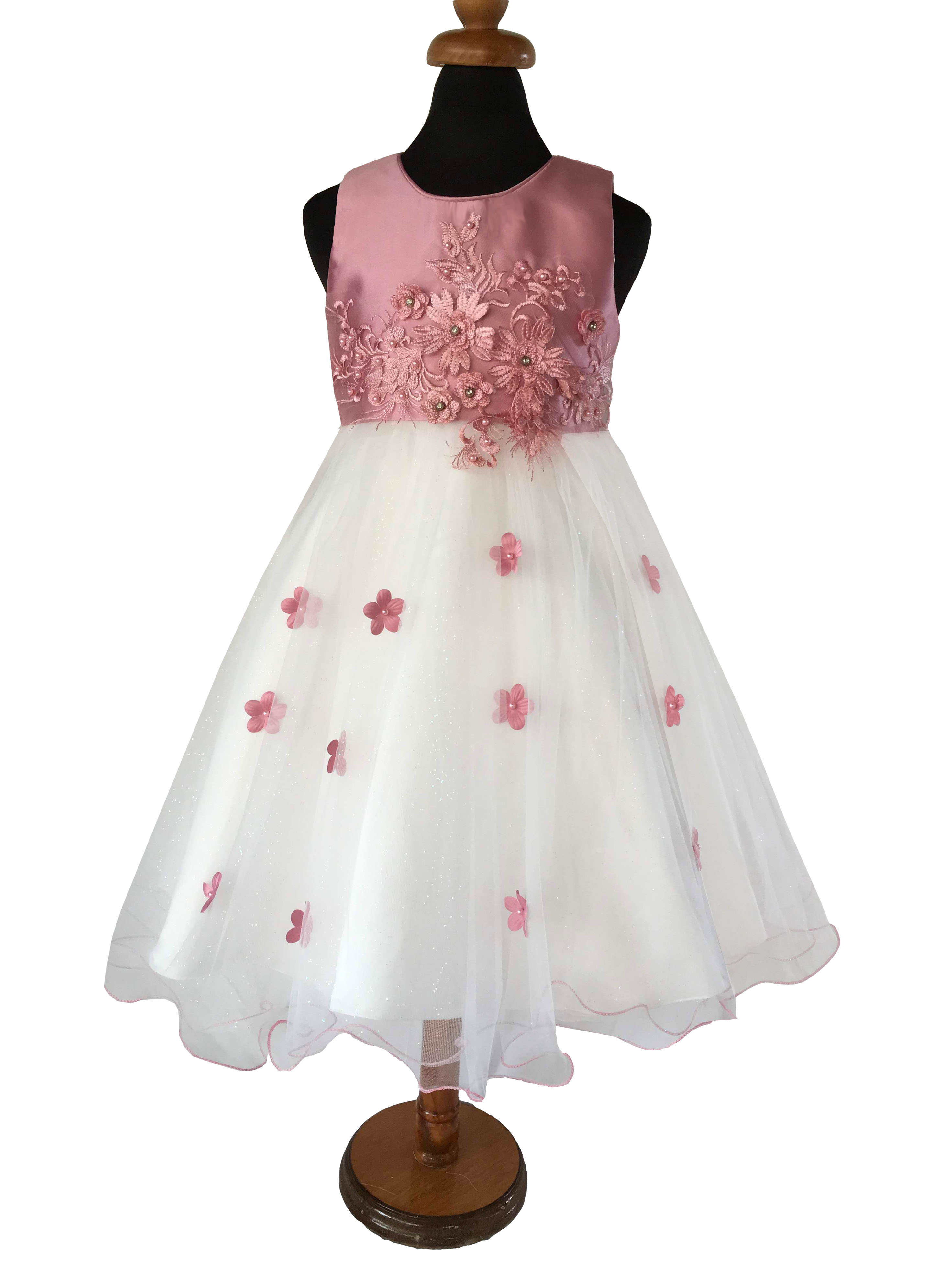 59d80ccf766 Παιδικό Φόρεμα σε Ροζ και Λευκό για Παρανυφάκι, Πάρτι