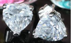 Beautiful 2 Carats Heart Cubic Zirconias Crystal Earrings