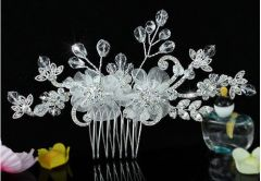 Bridal Wedding White Satin Flower Swarovski Crystal Hair Comb