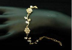 """Bridal, Bridemaid Gold Plated Crystal Flower Design Bracelet """"Flower"""""""