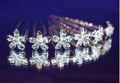"""Set of 6 Silver Plated Bridal Austrian Crystal Flower Hair Pins for Bride, Bridesmaid """"Arden"""""""