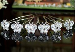 """Set of 6 Silver Plated Bridal Butterfly Crystal Hair Pins for Bride, Bridesmaid """"Ioulita"""""""