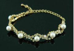 Bridal Wedding Wedding Cream Pearl & Crystal Bracelet
