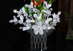 """Bridal Wedding Faux Pearl Crystal Rhinestone Hair Comb """"Celine"""""""