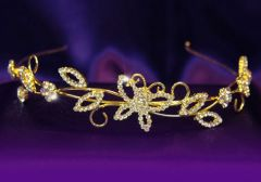 "Gold plated Bridal Wedding Leaf Leaves Crystal Headband Tiara ""Jazzy"""
