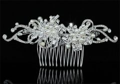 "Bridal Wedding Hair Comb Art Deco Handmade Ivory Fresh Water Pearls & Swarovski Crystals ""Prada"""