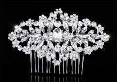 "Bridal Wedding Art Deco Handmade Crystal Vintage Style Hair Comb Slide  ""Carmen"""