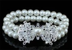 "Bridal Wedding White or Ivory Faux Pearl Art Deco Bracelet ""Monika"""