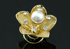 "Set of 6 Gold, Pearl, Crysatl Flower Hair Coils ""Dorcas"""
