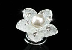 "Set of 6 White Gold Plated, Pearl, Crystal Flower Hair Coils, Twists ""Dorcas"""