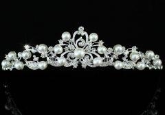 """Επάργυρη Πανέμορφη Σχέδιο Νυφική Τιάρα Γάμου με Αυστριακά Κρύσταλλα και Τεχνητά Μαργαριτάρια """"Yasmine"""""""