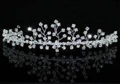 "Pretty, Delicate Silver Plated Clear Crystal Bridal Tiara ""Teagan"""