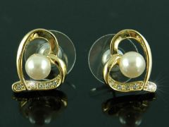 "Beautiful Gold Plated Shell Pearl Earrings ""Holly"""