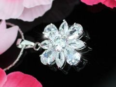 "Flower Necklace 8 Carat CZ Simulated Diamond ""Bethany"""