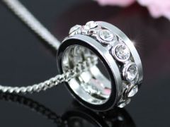 "Ring Shape Necklace with Swarovski Crystals ""Lia"""