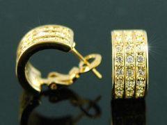 "Beautiful Gold Plated Swarovski Crystal Huggie Earrings ""Carolyn"""
