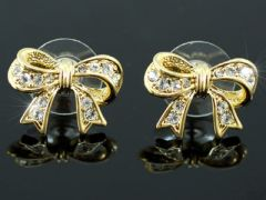 "Beautiful Gold Plated Swarovski Crystal Bow Earrings ""Davina"""