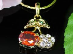 """Beautiful 18K Gold Plated Cherry Pendant Necklace """"Cherry"""""""