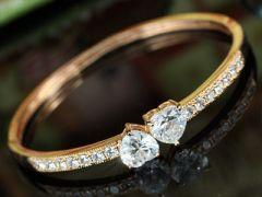 "Rose Gold Plated 6 Carat Heart Bangle, Bracelet ""Okera"""