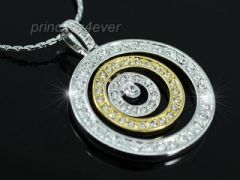 Gold Plated Designer Circles Necklace with Swarovski Crystals
