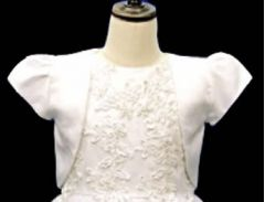 Girl's Satin Bolero in White
