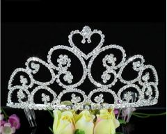 "Silver Plated Stunning Austrian Crystal Bridal, Pageant, Beauty Queen Tiara ""Kordelia"""