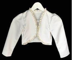 """Girl's Satin Jacket, Bolero in White or Ivory """"Saria"""""""