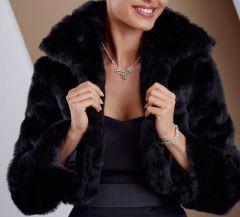 "Faux Fur Cape, in Black ""Nuka"""