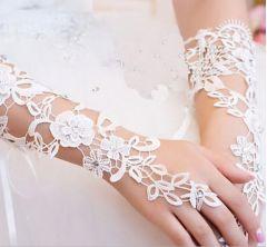 Satin Fingerless Wedding, Bridal, Crochet Gloves in white or Ivory