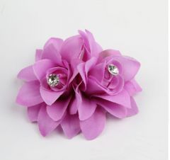 Pretty Twin Hair Flower Clip in purple lilac