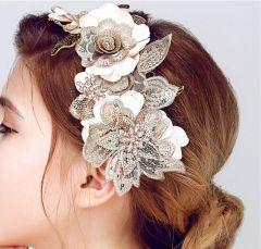 """Bridal Wedding Flower Leaf Hair Piece in Ivory, Beige, Gold """"Gwendoline"""""""