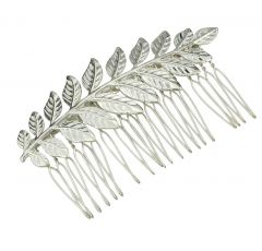 "Silver Laurel, Olive, Leaf Hair Comb Wedding, Bridal Accessory ""Fanhua""."