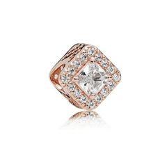 "Genuine Pandora 925 Rose Gold ""Square Sparkle Halo Charm"""