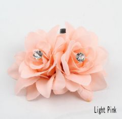 Pretty Twin Hair Flower Clip in Coral