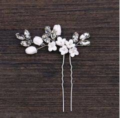 Bridal Handmade Crystal and Flower Hair Pin Accessory for Bride, Bridesmaid