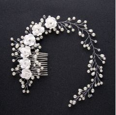 "Wedding Handmade White Ceramic Flower Crystal and Pearl Hair Comb, Band  ""Patty"""
