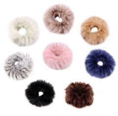 """Elastic Furry Hair Tie in Ivory, Pink, Black """"Pansy"""""""