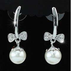 Elegant, Bow, Pearl and Swarovski Crystal Earrings