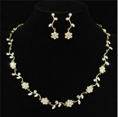 Bridal Jewellry Set, Gold Plated, Crystal Necklace & Earrings