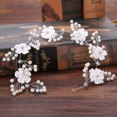 Bridal Pretty Silver Headpiece with Pearls