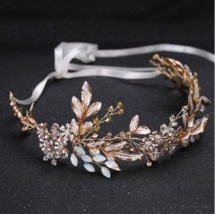 """Bridal Wedding Hair Piece, Champagne and Gold Colour with Pearlised Leaves and Crystals """"Bernadette"""""""