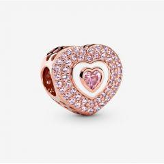 "Genuine Pandora 925 Rose Gold ""Pink Pavé Heart Charm"""