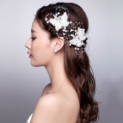 """Hair clip with Butterfly Crystals and White Beads """"Della"""""""