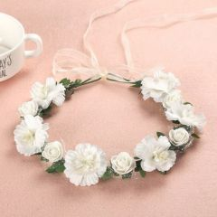 """Garland, White with Flowers and Leaves for Bridesmaid """"Esme"""""""
