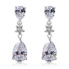 """925 Sterling Silver with Stimulated Diamond Bridal Wedding Bridesmaid Earrings Dangle """"Holly"""""""