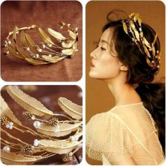"""Ancient Greek - Roman Style Gold Coloured Olive Leaf and Pearl Bridal, Wedding Tiara  """"Grecian"""""""