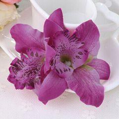 "Fuchsia Orchid Fabric Bridal, Bridesmaid Hair Flower, Clip, Broach ""Orchid"""